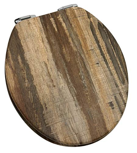 Home+Solutions Toilet Seat, Round, Distressed Wood