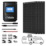 ACOPOWER 400 Watts 12/24 Volts Monocrystalline Panel Solar RV Kits with 40A MPPT LCD Charge Controller/Mounting Brackets/Solar Cables/Cable Entry housing