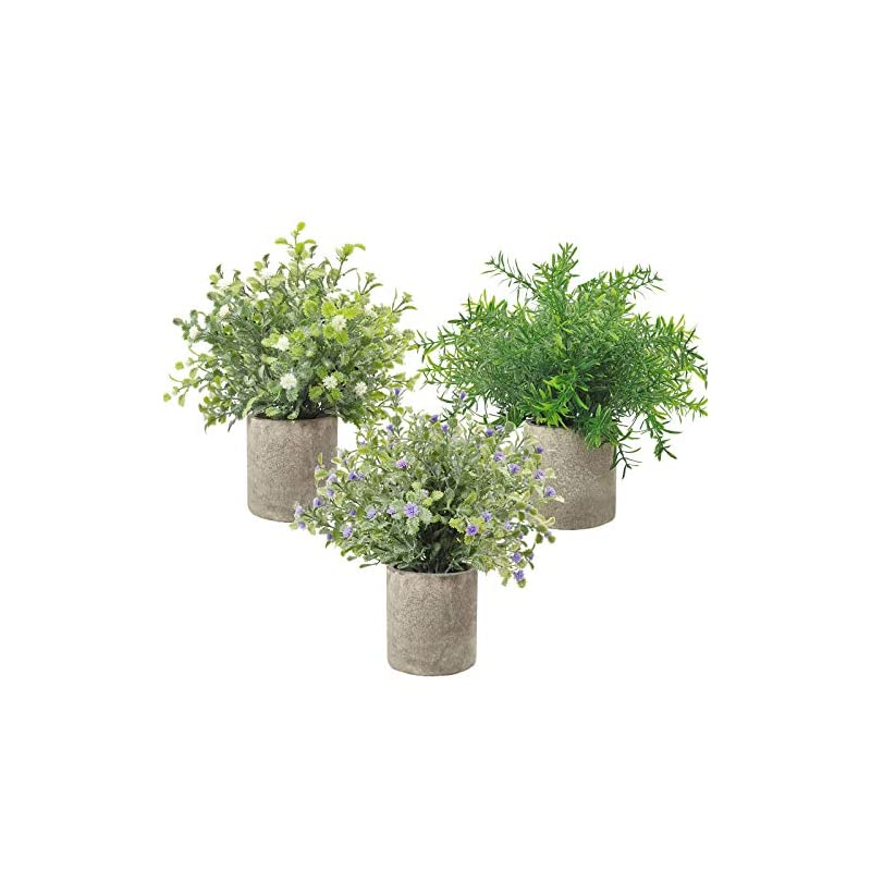"""silk flower arrangements 3 pack small potted artificial plastic plants, mini fake rosemary plant faux flower houseplants for home decor indoor, 9.5"""" tall greenery plants for wedding home office desk garden, indoor & outdoor"""