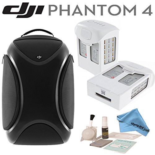 DJI Phantom 4 Travel Bundle: Includes DJI Phantom 4 Backpack, 2 Spare DJI Intelligent Flight Batteries for Phantom 4, eDigitalUSA Blower Brush and Deluxe Cleaning Kit