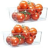 QILZO Juego de 2 Cajas de almacenaje Nevera y congelador Organizador de alimentos con asa 28.5x19x10 cm, Organizador de nevera transparente Envases de plástico cocina, Fabricado en España