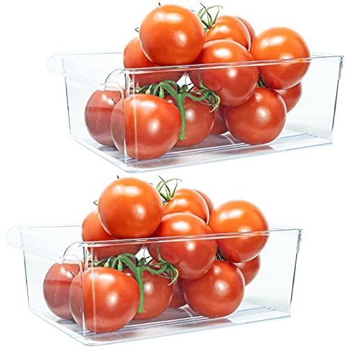 QILZO® Juego de 2 Cajas de almacenaje Nevera y congelador Organizador de alimentos con asa 28.5x19x10 cm, Organizador de nevera transparente Envases de plástico cocina, Fabricado en España