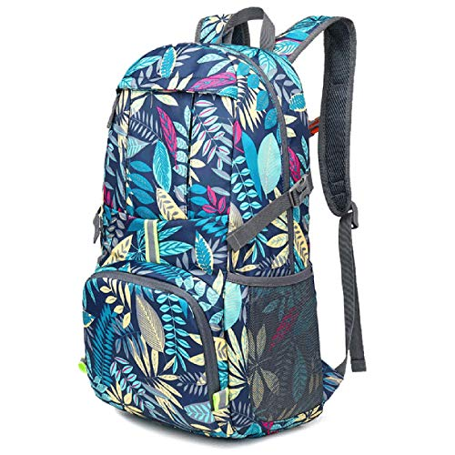 ZJML Outdoor Travel Backpack, Foldable Ladies Fashion Print Daypack, Outdoor Adventure Hiking Camping Backpack with Reflective Strips And Survival Whistle
