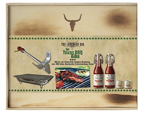 Feuer & Glas - The Longhorn BBQ Kit - Texas BBQ Ribs mit Brandeisen (400ml BBQ Sauce und 150g Gewürzmischungen)