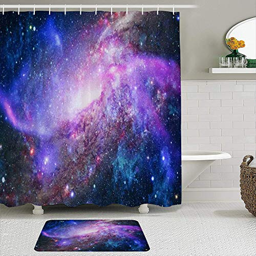 MEJX 2-teiliges Duschvorhangset mit Rutschfester Badematte,Nebel Deep Space Sky Universe Glow Night Concept Science,12 Haken,Personalisierte Badezimmerdekoration