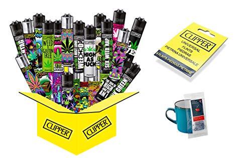 10 x Hanfmotive (Weed) Collector Mix Clipper (10 x Feuerzeug Plus 9 gratis Clipper Feuersteine + gratis Tee)