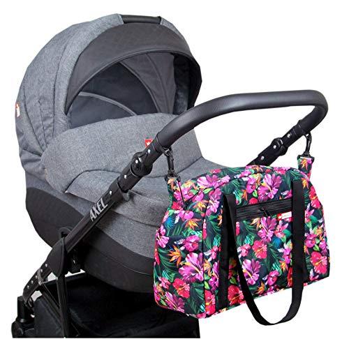 BabyLux Wickeltasche COLORFUL Kinderwagen Buggy Große Handtasche Babytasche mit Befestigung für Mutter Handtasche (81. Schwarz + Hibiskus)