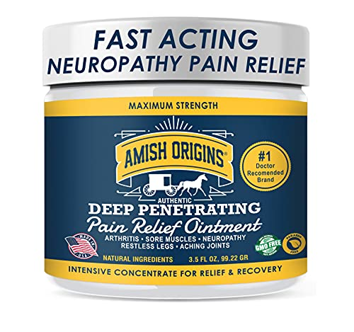 Amish Origins Deep Penetrating Pain Relief Ointment 3.5 oz - Medicated Pain Relief Cream, Quick Acting Pain Relief Formula, Perfect for Aching Joints, Arthritis, Restless Legs, Sore Muscles