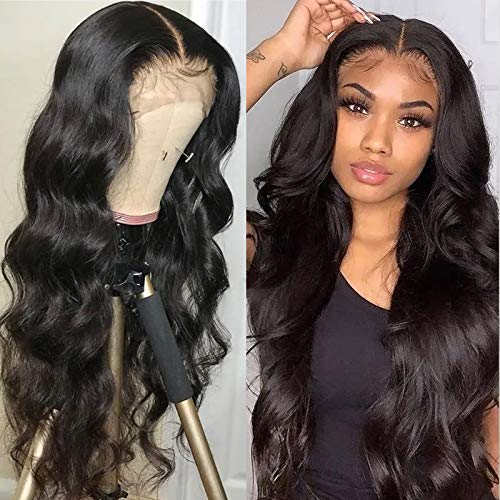 Brazilian 13x4 Lace Front Wigs Human Hair Body Wave 150% Density Transparent Lace Front Wig Pre-plucked Bleached Knots with Baby Hair for Black Women 22 inch