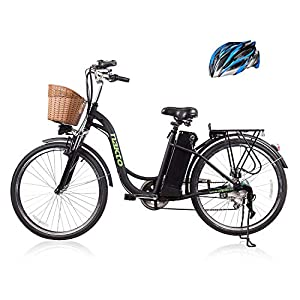 26″ 250W Cargo Electric Bicycle 6-Gear Speed Sporting Ebike 36V10A Lithium Battery -Class AAA(Black)