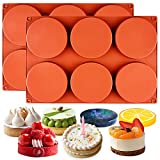 Funshowcase Round Disc Baking Silicone Mold 6-Cavity, 4inch, Circle Epoxy Resin Tray, Chocolate Cake Pie Custard Tart Muffin Sandwiches Eggs Bakeware, Soap Concrete Cement Plaster Pan, 2-Bundle
