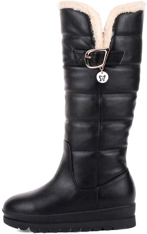 Webb Perkin Women Short Plush Snow Boots Buckle Fashion Platform Female shoes Lady Knee High Boots