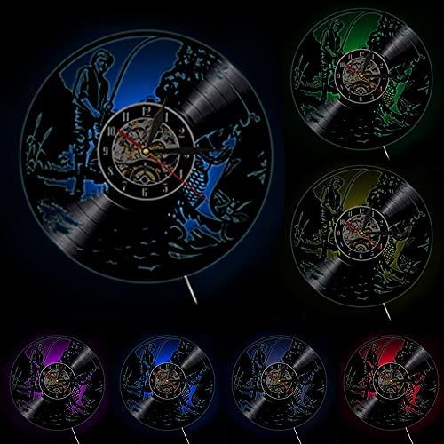 Reloj de Pared con Disco de Vinilo Pescado desaparecido Retro LP decoración del hogar Reloj de Arte Colgante de Pared Regalo de Tiempo Creativo para Pescador
