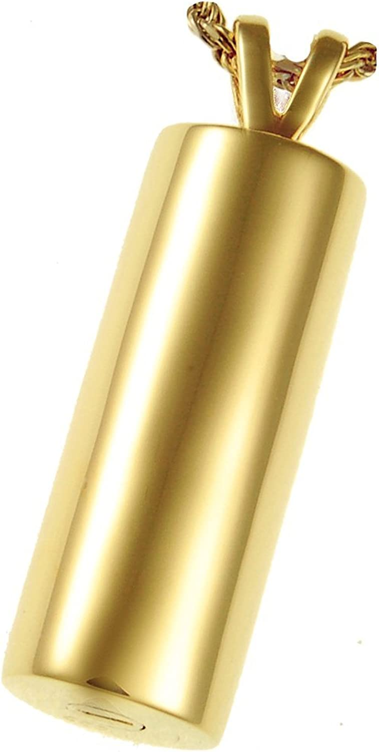Memorial Gallery MG3154gp Elegant Cylinder 14K gold Sterling Silver Plating Cremation Pet Jewelry