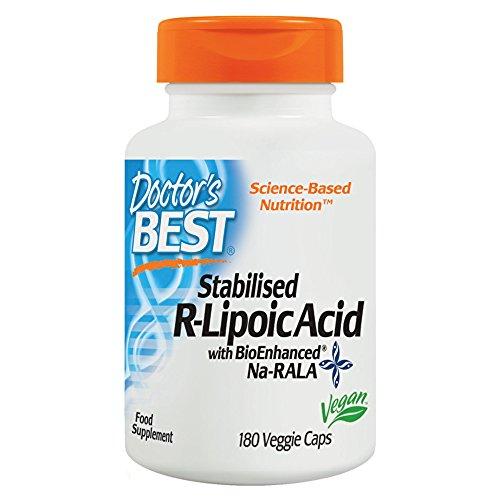 Doctor's Best Stabilized R-Lipoic Acid with BioEnhanced Na-RALA, Non-GMO, Gluten Free, Vegan, Helps Maintain Blood Sugar Levels, 100 mg 180 Veggie Caps