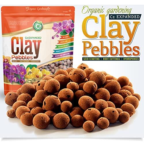 Organic Expanded Clay Pebbles Grow Media for Orchids, Hydroponics, Aquaponics, Aquaculture Garden (2 LB Cz Expanded Clay Pellets)