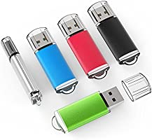 TOPESEL 5 Pack USB 2.0 USB 3.0 Flash Drive Memory Stick Thumb Drives (5 Mixed Colors: Black Blue Green Red Silver)