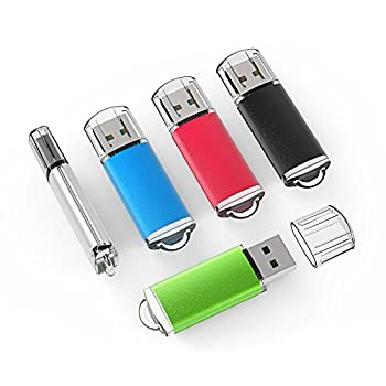 TOPESEL 5 Pack 4GB USB 2.0 Flash Drive Memory Stick Thumb Drives  5 Mixed Colors  Black Blue Green Red Silver