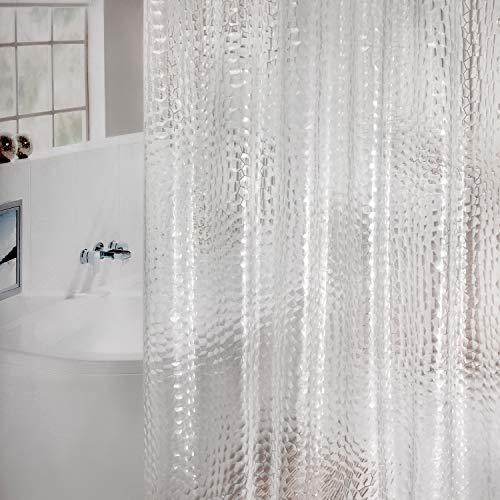 WELTRXE Duschvorhang Anti-Schimmel mit Gewicht Magnet unten, Transparent 3D Kubisch Eva Wasserdicht Antibakteriell Vorhang für Dusche und Badewanne, 0.15mm [180x200cm] mit 12 super Duschvorhangringen