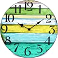 "Coindivi 14"" Silent Non Ticking Wall Clock, Retro Wooden Decorative Round Wall Clock Quality Quartz Battery Operated - Vintage Rustic Country Tuscan Style Farmhouse Decor"