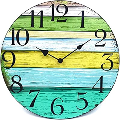 """Coindivi 14"""" Silent Non Ticking Wall Clock, Retro Wooden Decorative Round Wall Clock Quality Quartz Battery Operated - Vintage Rustic Country Tuscan Style Farmhouse Decor"""