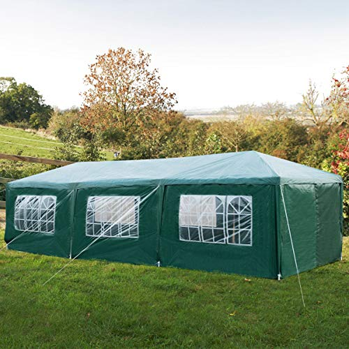 Maxmass 3X9M Garden Gazebo with 8 Side Panels and Windows, Outdoor Waterproof Marquee Tent (Green)