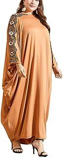 GaoYunQin Femme Robe Femmes Dubaï Islamique T-Shirt Robe Maxi Énorme Décontracté en Vrac 3/4 Manches Longues Robes Chemise...