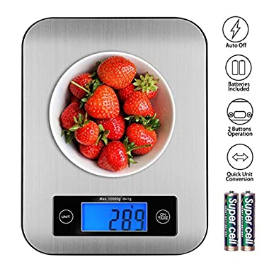 Digital Kitchen Scale Food Scales, TOBOX Postage Scale Multifunction Stainless Steel Accuracy with LCD Display and Tare Function for Baking and Cooking (Gray)
