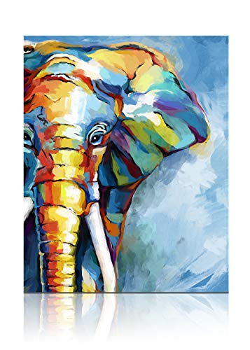 SUMGAR Elephant Paint by Numbers for Adults Animals Blue Canvas DIY Oil Painting by Numbers Kits for Beginners & Kids, Acrylic Drawing Paintwork Crafts Mother's Day Gifts, 16