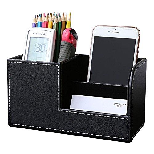 KINGFOM Multifunktions Schreibtisch Organizer 3 Speicherabteil Stifteköcher (Schwarz)