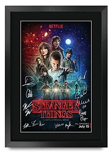 HWC Trading Stranger Things A3 Encadré Signé Image Autographe Imprimé Impression Photo Cadeau D'Affichage pour TV Show Ventilateurs