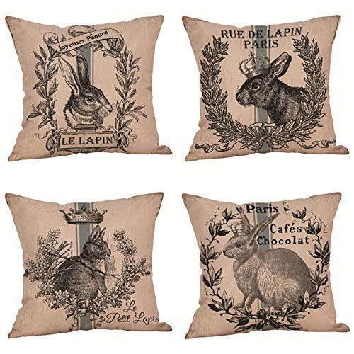 Thfsdfsj Cojín de Pascua de 4 Piezas, cojín de sofá con patrón de Conejo, Funda de cojín Suave, decoración del hogar 45x45cm