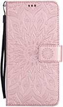 HMTECH Huawei Mate 9 case Sun Flower Embossed Floral Wallet Case with Card Cash Slots Kickstand Premium PU Leather Flip Stand Cover Stylus Pen for Huawei Mate 9 KT Mandala Rose Gold