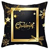 Iusun Merry Christmas Pillow Covers Short Plush 18 Inches Square Black Gold Print Waist Throw Pillowcase Fall Winter Autumn Season Decor Sofa Pad Home Decorative Cushion Covers (E)
