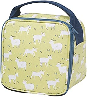Let's Do Lunch Goats Green 8.5 x 6 Inch Insulated Zipper Lunch Bag with Handle