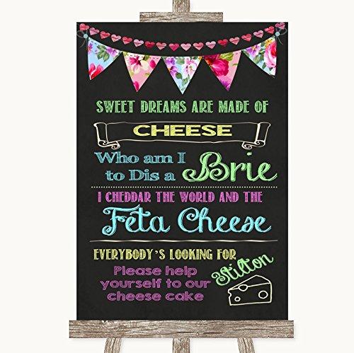 Bruidsbord Poster Print Heldere Bunting Krijt Cheesecake Kaas Song kan volledig worden aangepast elke tekst of kleur - Perfect Venue Decoratie (A5) Small