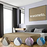 wometo Tagesdecke 220x240 cm OekoTex - Microfaser-Bezug beige Ecru wattiert gesteppt Wende-Design XXL Sofa Couch Bett Bettüberwurf beige