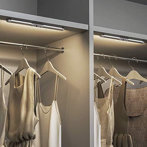 SIBI LED Licht mit Bewegungsmelder, USB Wiederaufladbar schrankleuchte, Augenschutz Design Kleiderschrank Beleuchtung, Stick an überall für Schrank, Treppen, Flur, Normales Weiß 4000K, 2 Stück