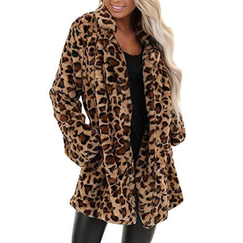 HINK Manteau Long en Fausse Fourrure léopard pour Femmes