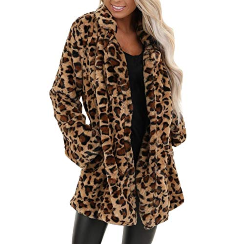 aihihe Women Leopard Print Coats Jackets Winter Warm Faux Fur Fuzzy Cardigan Coat Long Outwear Parka Overcoat Brown