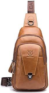 Mochila de cuero vintage para hombres Crossbody hombro pecho mochila de día mochilas