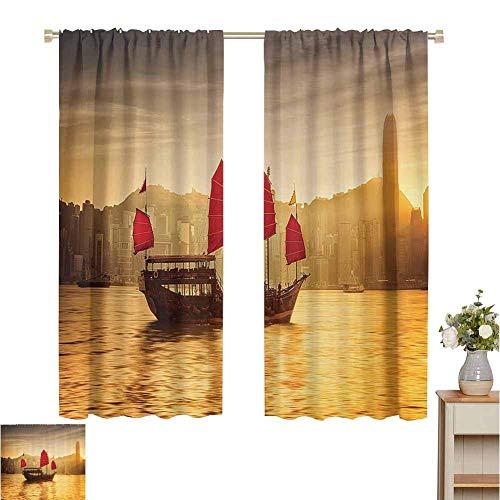 Cortinas opacas con aislamiento térmico Colección de decoración náutica para veleros, Skyline de Hong Kong con crucero tradicional Imagen de velero en el puerto de Victoria, rojo, para paneles que osc