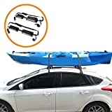Onefeng Sports 165LB Kayak Roof Rack, TPE Car Roof Rack Pad with 1.5' Width Tie Down Straps for Kayak, SUP & Paddleboards, Easy to Stand&Put on Surfboard on Car Roof for Secure Shipment(1 Pair, Black)