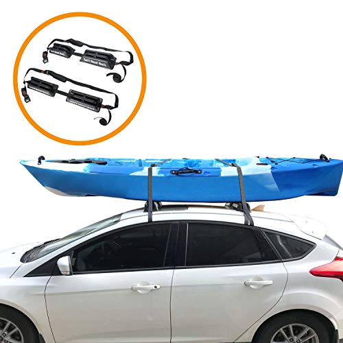 Onefeng Sports TPE Car Soft Roof Rack Pad & Luggage Carrier for Kayak Surfboard Canoe with 2 Tie Down Straps (Big - Set of Four Rack)