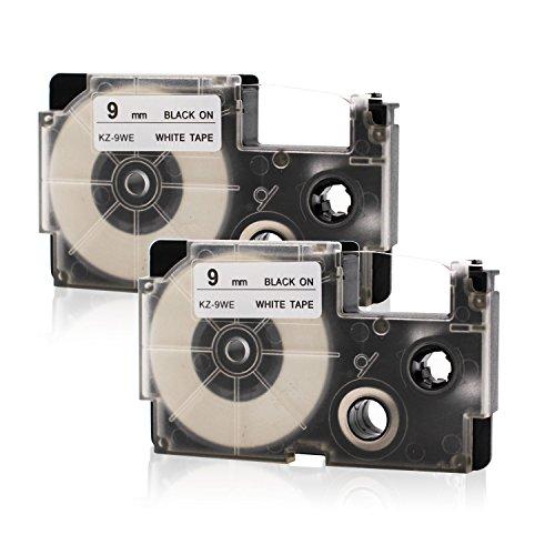 2x Labelwell 9mm x 8m Sostituzione Nastro per Etichette Compatibile per Casio XR9WE XR-9WE1 Nero su Bianco per Casio KL-60 KL-120 KL-HD1 KL-P350W KL-G2TC KL-170PLUS KL-820 KL-60SR KL-70e KL-780 KL-200