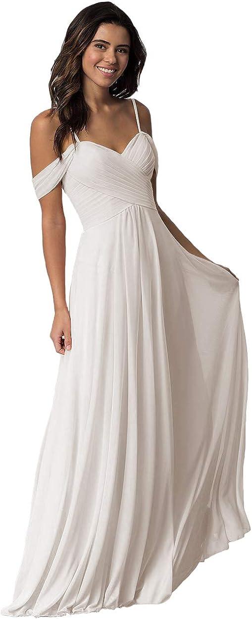 Miao Duo Women's Long Off Shoulder Chiffon Wedding Bridesmaid Dresses MD1201