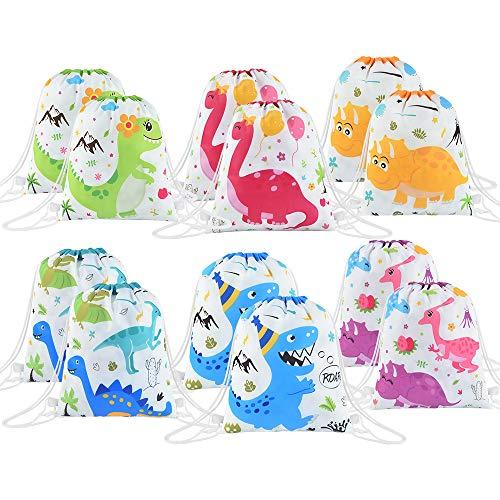 WERNNSAI Familia Dinosaurio Bolsa de Regalo de Fiesta - 12 Pcs Suministros para la Fiesta para Niños Cumpleaños Baby Shower Bolsas de Fiesta con Cordón Bolsa Lavable Mochila Envolver Bolsas de Regalos