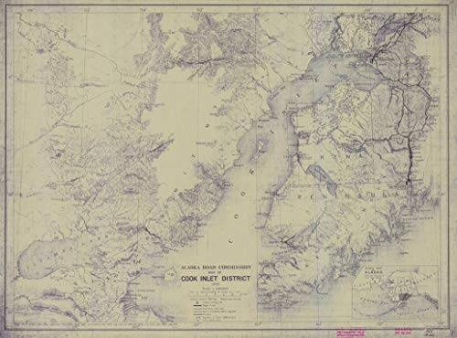 Vintography Reprinted 8 x 12 Nautical Map of Alaska Road Commission MAP of Cook Inlet District Sheet NO. 7 1923 Alaska Road Commission 36a