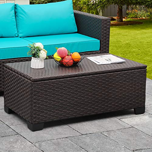 Rattaner Outdoor Storage Table, Wicker Patio Coffee Table and Rattan Side Table with PP Board, Brown