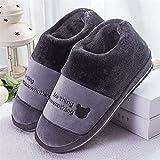 Kirin-1 Zapatillas de casa Hombre Invierno,Bolso de Hombre de Zapatos Peludos con Zapatillas de algodón hogar de Gran tamaño antideslizante-36-37_Gris a